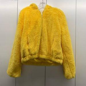 Fuzzy yellow hoodie